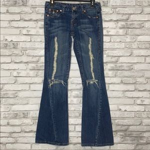 True Religion Distressed Joey Flare Jeans